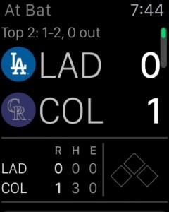 Dodgers and Rockies score via the At Bat app