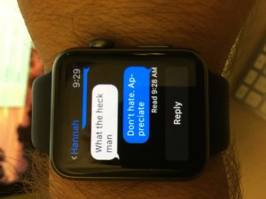 Texting my daughter from the wrist